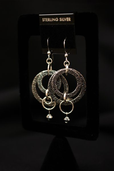 Pewter Hoops with Swarovski Crystal Drop - Anna Verbsky Sagami