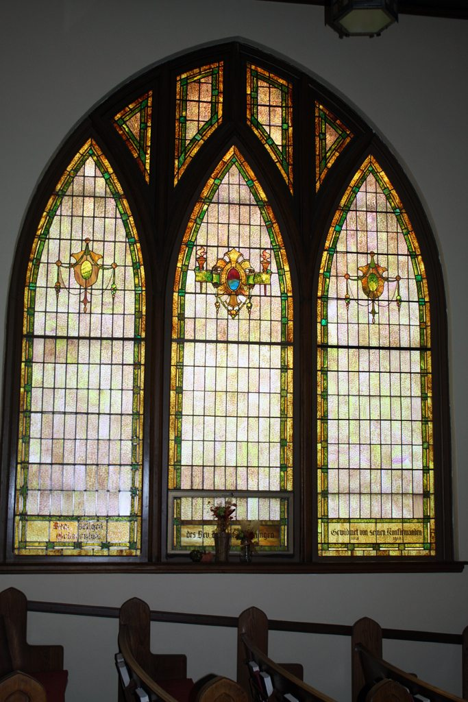 Stained Glass in First United Church of Christ by Anna Verbsky Sagami